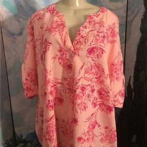 Woman Within Print Floral Split Neck Tunic Top